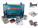 Bosch GST 18 V-Li S Professional Akku Stichsäge Solo in L-Boxx mit Ladegerät GAL 1880 und 2x GBA 6 Ah Akku + Stichsägeblätter Set 30 Tlg. in Tough Box Wood / Metal