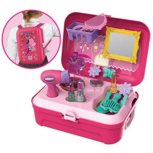 Pretend Play Beauty Kit Little Girls Dress-up Set Salon with Storage Backpack Box Educational Toy for Kids ,21 PCS