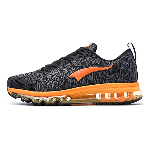 onemix Herren Damen Air Laufschuhe Sportschuhe mit Luftpolster Turnschuhe Leichte Schuhe Sportschuhe 42 EU Charcoal Grey/Orange