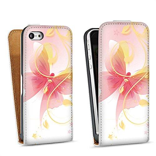 Apple iPhone 5 Housse Étui Silicone Coque Protection Papillon Ornement Papillon Sac Downflip blanc