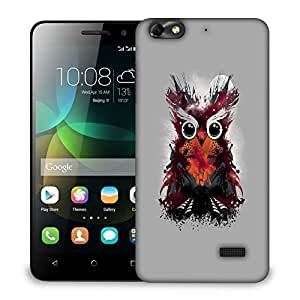 Snoogg Abstract Red Owl Designer Protective Back Case Cover For HUAWEI HONOR 4C