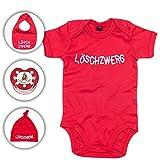 Babyset Feuerwehr Löschzwerg - Strampler/Schnuller/Mütze/Lätzchen/0-12 Monate/Komplettset/Beruhigungssauger + Babybody (3-6 Monate, Rot)