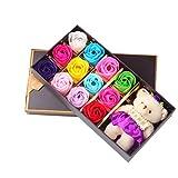 VORCOOL 12 duftende Rose Blume Bad Seife Geschenkbox mit Bär für Geburtstag / Hochzeit / Valentinstag (Multicolor)