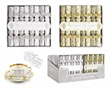 GOLD 8 PACK MINI LUXURY BREAKFAST AFTERNOON TEA SAUCER CHRISTMAS CRACKERS GOLD