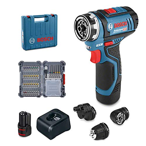 Perceuse Visseuse sans fil Bosch Professional  GSR 12V-15 FC (Système 12V, 1 Batterie 2,0 Ah, 3 embouts interchangeables, 40 accessoires, Coffret)