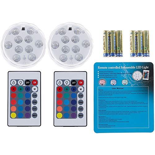 2 Unterwasser Licht mit Fernbedienung und 6 Batterien RGB Multi Farbwechsel Wasserdichte LED Leuchten für Vase Base Aquarium Teich Halloween Party Weihnachten (Wasserfall Lichter Weihnachten)