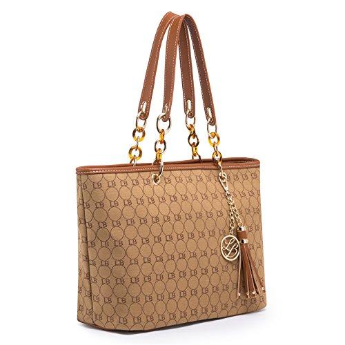 (GetThatBag) Lola Benson® Starr Frauen Monogramm Stern Check / Logo Handtasche Schultertasche Shopper Tote Bag (Brown Logo) (Sterne Logo)