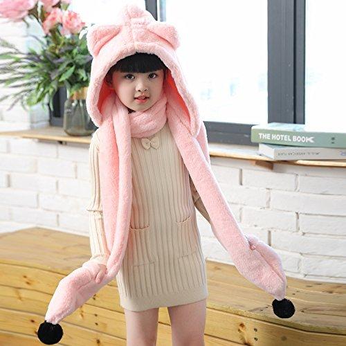 Dicke Schal Handschuhe Twin Pack Kinder Ohr Cap Imitation Kaschmir Schal weibliche Herbst und Winter koreanische Studenten gestrickt Schal lang,Rosa ()