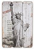levandeo Holzbild Holzschild New York Freiheitsstatue USA Schild 60x40cm - Wandbild Dekoschild Vintage Bild Holz Holzlatten Holztafel Wanddeko Wandobjekt Wandschild