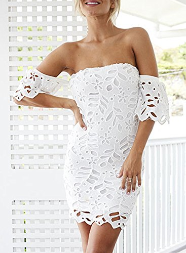 Azbro Women's off Shoulder Short Sleeve Lace Bodycon Dress white