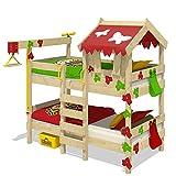 WICKEY Etagenbett CrAzY Ivy Spielbett für 2 Kinder Hochbett mit Dach, Kletterleiter und Lattenboden, rot-apfelgrün, 90x200 cm