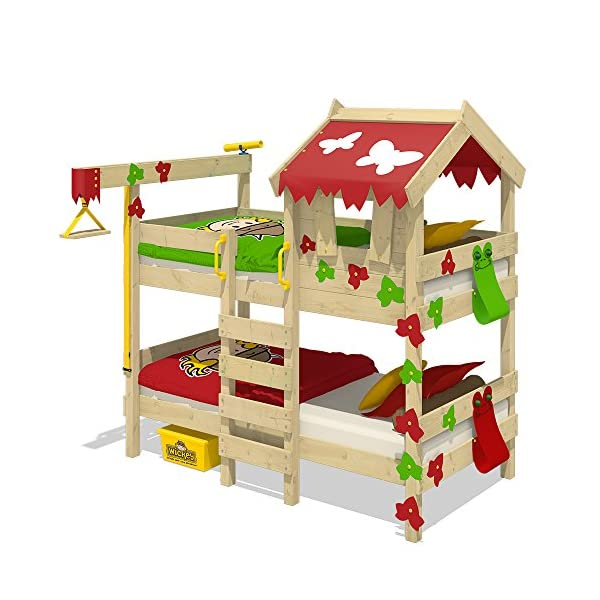 WICKEY Bunk Bed Crazy Ivy Play Bed for 2 Children Loft Bed with roof, Climbing Ladder and slatted Bed Base, red-applegreen Wickey Fabulous bunk beds for boys and girls - Quality and safety tested - CrAzY roof and climbing ladder Natural and untreated wood - Solid wooden boards 18x120mm - Solid standing beams 58x58mm Mattress surface 200 x 90 x 12cm - Mirrored assembly possible - Detailed assembly instructions 1