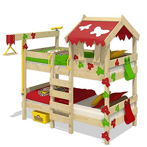 WICKEY Etagenbett CrAzY Ivy Spielbett für 2 Kinder Hochbett mit Dach, Kletterleiter und Lattenboden, rot-apfelgrün