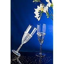 Pintado a mano de la boda de novia y novio de copas de champán, vidrio