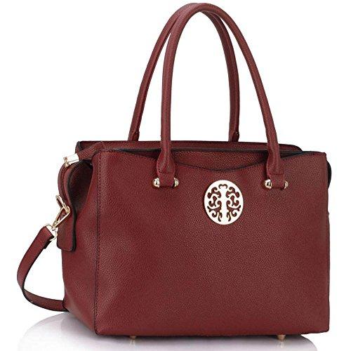 - 51qpq1KPrkL - Womens Designer Handbags Ladies New Fashion Faux Leather Shoulder Tote Bags (W – Burgundy)