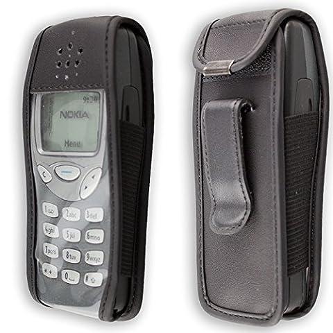 caseroxx Handy-Tasche Ledertasche mit Gürtelclip für Nokia 3210 aus Echtleder, Handyhülle für Gürtel (mit Sichtfenster aus schmutzabweisender Klarsichtfolie in schwarz)