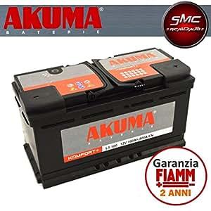akuma by fiamm l5100 komfort plus batterie voiture 100 ah 800 a p le positif droite. Black Bedroom Furniture Sets. Home Design Ideas