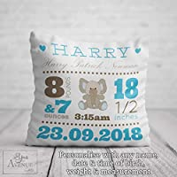 New Baby Boy Arrival Cushion - Baby Birth Personalised Christening Gift - Blue Baby Boys Name Decorative Pillow with Name 40 x 40cm / 16 x 16in Cushion Cover Pillowcase