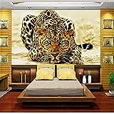 Rureng Benutzerdefinierte 3D Fototapete Bett Zimmer Wandbild Vlies Wandaufkleber Leopard Jagd Gold Malerei Sofa Tv Hintergrund Wand Tapete-200X140Cm