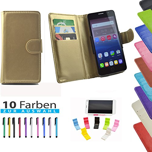 5 in 1 set ikracase Hülle Slide Handyhülle für Medion Life E5008 Smartphone Hülle Tasche Case Cover Schutzhülle Handytasche Etui in Gold