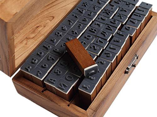YPSelected set di 70 pezzi stile vintage grafia numero di lettere dell'alfabeto in gomma di legno stamp Timbri