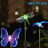 #10: Hardoll® Solar Lights,Hummingbird,Butterfly & Dragonfly Solar Garden Stake Light For Home Outdoor Decoration LED Lamp (SET OF 3×2)