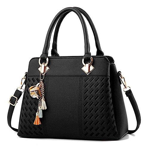 PARADOX (LABEL) Womens Hand Bag Ladies Purses Satchel Shoulder Bags (Black)
