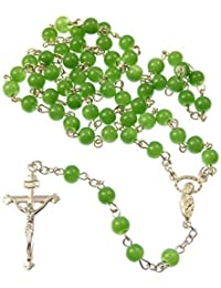 Collana con perline a rosario verde stile giada 6mm di vetro
