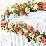 LumenTY 2 unidades de flores artificiales de rosa falsa para decoración de casa, boda, jardín,...