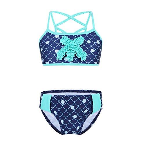 iixpin Fille Maillot de Bain Deux Pièces Sirène à Bretelle Top avec Culotte Vêtement de Plage Vacance d'Eté Natation Bikini Tankini pour Enfant Äge 3-14 Ans