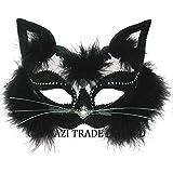 Eyemask: Black Marabou Cat on Headband (máscara/ careta)