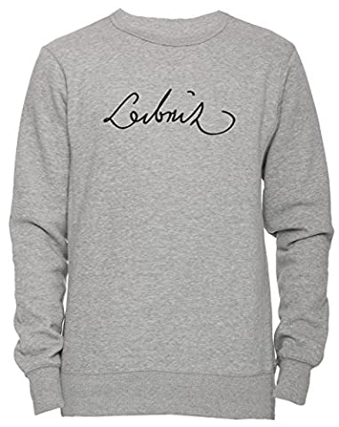 Gottfried Wilhelm Leibniz Signature Unisexe Homme Femme Sweat-shirt Jersey Pull-over Gris Taille XL Unisex Men's Women's Jumper Sweatshirt Pullover Grey X-Large Size XL