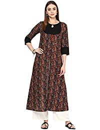 Jaipur Kurti Women's Cotton Paisely Print Kurta With Off White Palazzo Set (Black)