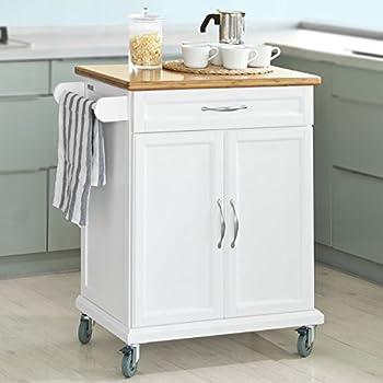 SoBuy® Luxus-Küchenwagen mit Bambustischplatte, Küchenschrank ...