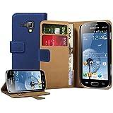 Membrane - Negro Cartera Funda Carcasa para Samsung Galaxy Trend Plus (GT-S7580) - Wallet Case Cover + 2 Protector de Pantalla