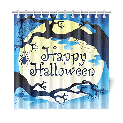 QuqUshop Wohnkultur Bad Vorhang Happy Halloween Thema Mond 3 Polyester Wasserdicht Duschvorhang Für Bad, 72X72 Zoll Duschvorhang Haken Enthalten