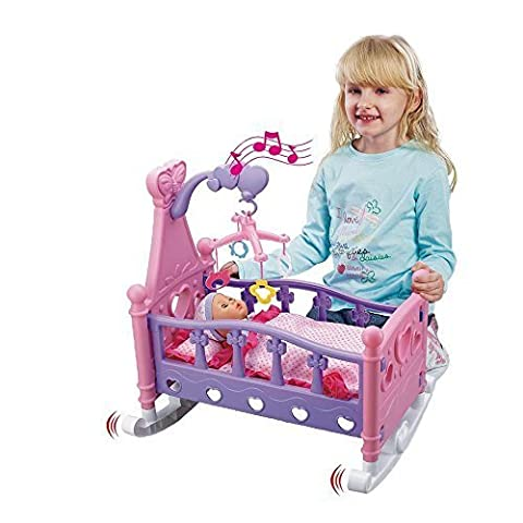 New Childrens Kids Musical Rocking Cot Bed Crib With Baby