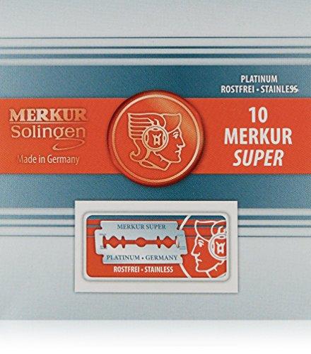 Merkur MRKR - Pack de 10 hojas de seguridad fabricadas en platino inoxidable