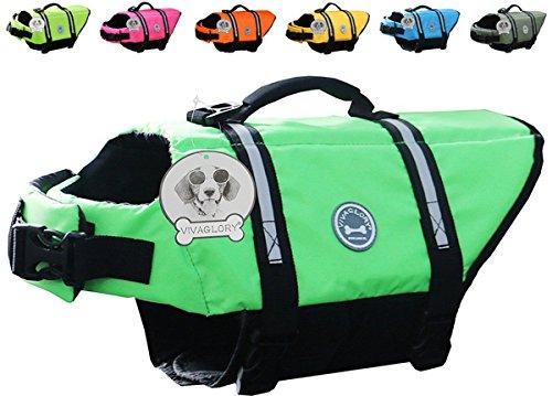 Vivaglory Hundeschwimmweste Doggy Float Coat Wassersport Schwimmhilfe Rettungsweste für Hunde Haustier Mit Griff und Reflektoren, Neon-Grün, M