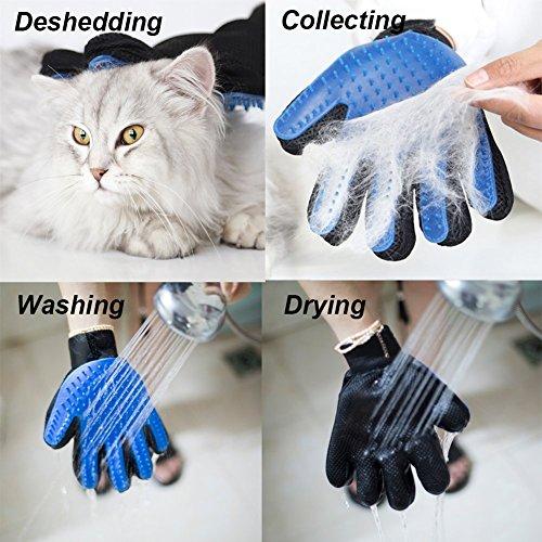 TINDERALA 2Stk. Profi Fellpflege-Handschuh Bürste Haustier Massagehandschuh für Pferde Hunde Katzen Entspannte Fellpflege Striegel Bürsten Pflegenbürste Fellwechsel Pferdebürste Putzhandschuhe (Blue) - 5