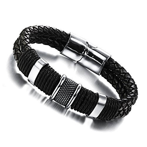 Wowl pulseras de cuero genuino con la hebilla magnética y acero inoxidable para Hombres Niños
