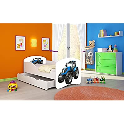 CHILDREN TODDLER KIDS BED + FREE MATTRESS ACMA I WHITE ... 140x70 160x80 180x80 40 Designs (42 Tractor, 180x80 cm + drawer)
