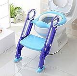 HOMFA Aseo Escalera Asiento Escalera del tocador de niños Asiento para WC con escalón plegable Orinal Formación Color azul