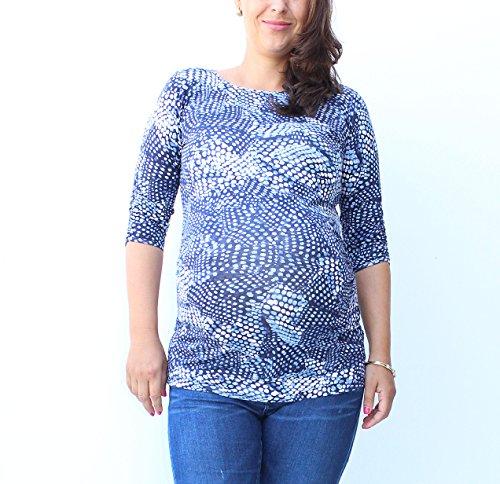 Schwangerschafts TShirt mit Schwarz/Weiß Baumwolle Rückseite, grau Lame Gewinde Print, kurze Lasche, Baumwolle Mutterschaft TShirt Mia, Mutterschaft, Schwangerschaft tragen, geeignet für Schwangerscha blau