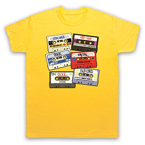 My Icon Art & Clothing Cassette Tapes Retro Mix Tape Camiseta para Hombre, Amarillo, Small