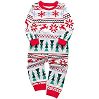 FENICAL Children Long Sleeve Pajamas Cotton Kids Christmas Loungewear Clothes and Pants Sleepwear Suits for Autumn Winter