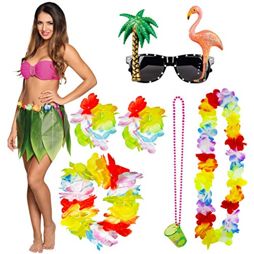 Party Kostüm Und Accessoires Beach - Trixes 7-teilige Hawaiianische Kostüm Kollektion - Hula Leaf Rock Flower Lei Halskette Armbänder Stirnband Schnaps Glass and Sonnenbrille - Ideal für Tropical Beach Sommer Luau Party