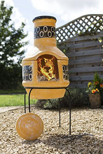 La Hacienda Clay Circles 106cm Pizza Chiminea Chimenea with BBQ Grill Patio Heater Wood Burner