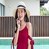 GAOQIANGFENG Womens UPF 50 + Strandhut, Sonnenschirm Hut, Sommer Sonnenhut für Frauen, Reisen, Falten, Bedeckung Gesicht, Fischerhut, Solar Strohhut, Beige