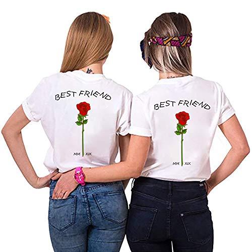 Best Friends Sister Tshirt für Zwei Damen Freund Shirts mit Rose Tops Sommer Oberteil BFF Geburtstagsgeschenk 1 Stücke Symbolische Freundschaft (S,Weiß)